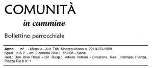 """Testata del Bollettino Parrocchiale """"Comunità in Cammino"""""""