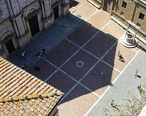 L'ombra ripresa dalla torre di Palazzo Comunale  (Ore 13:20 del 1 aprile 2001)
